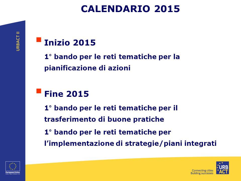 CALENDARIO 2015 Inizio 2015 Fine 2015