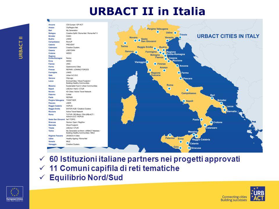 URBACT II in Italia 60 Istituzioni italiane partners nei progetti approvati. 11 Comuni capifila di reti tematiche.