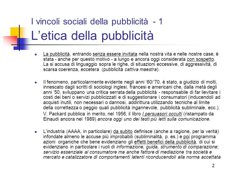 I vincoli sociali della pubblicità - 1 L'etica della pubblicità
