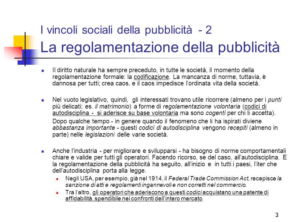 I vincoli sociali della pubblicità - 2 La regolamentazione della pubblicità