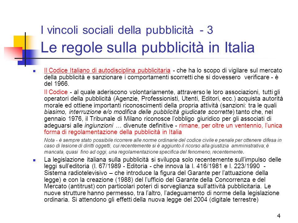 I vincoli sociali della pubblicità - 3 Le regole sulla pubblicità in Italia
