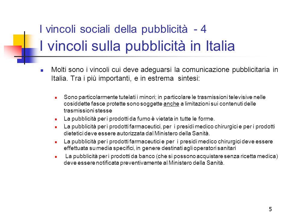 I vincoli sociali della pubblicità - 4 I vincoli sulla pubblicità in Italia
