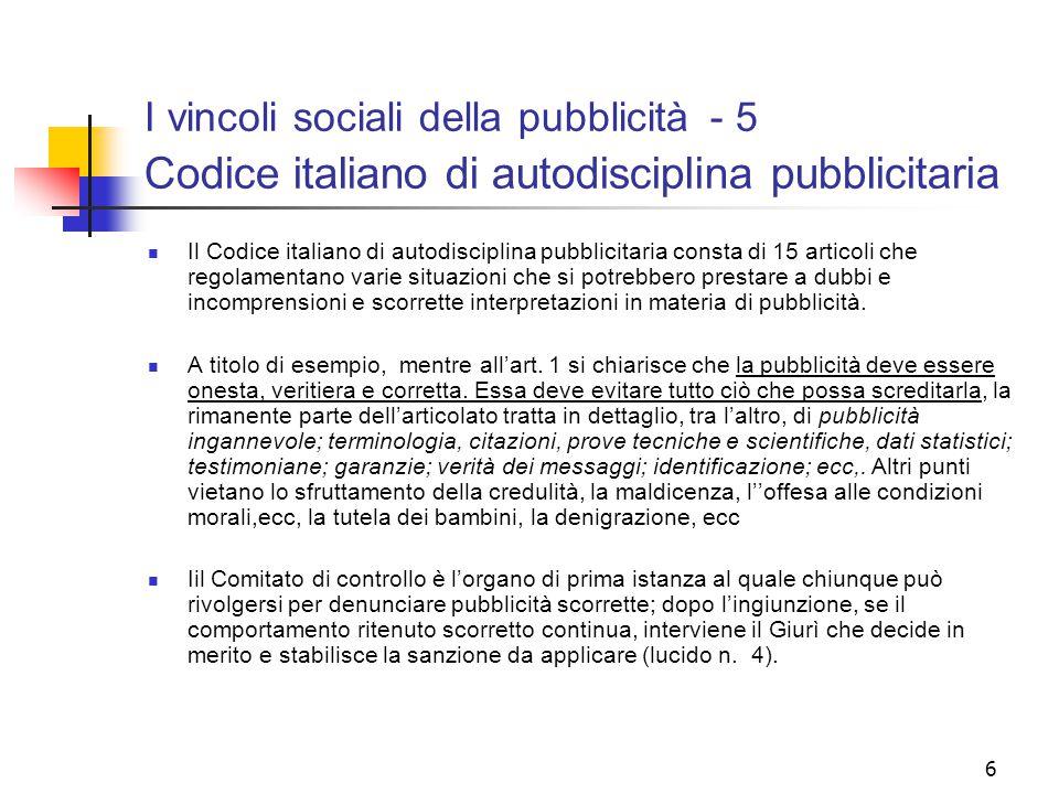 I vincoli sociali della pubblicità - 5 Codice italiano di autodisciplina pubblicitaria