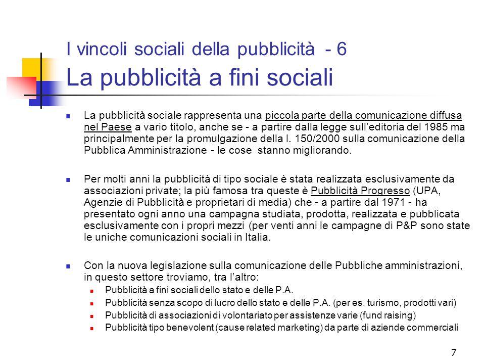 I vincoli sociali della pubblicità - 6 La pubblicità a fini sociali