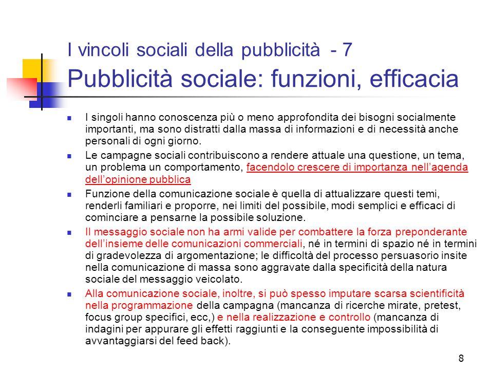I vincoli sociali della pubblicità - 7 Pubblicità sociale: funzioni, efficacia