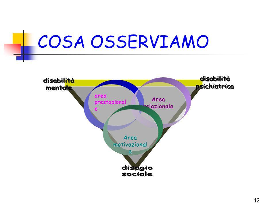 COSA OSSERVIAMO disabilità psichiatrica mentale disagio sociale Area