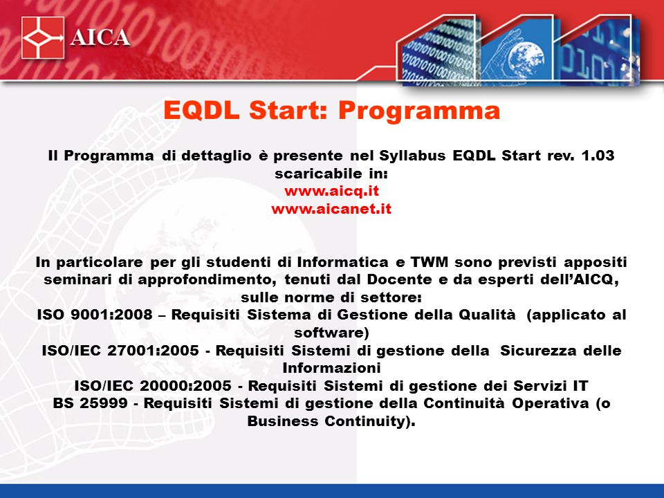 EQDL Start e Plus SYLLABUS! Skills Card EQDL Start EQDL START 3 esami
