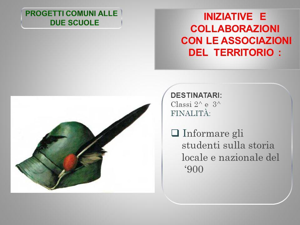 INIZIATIVE E COLLABORAZIONI CON LE ASSOCIAZIONI DEL TERRITORIO :