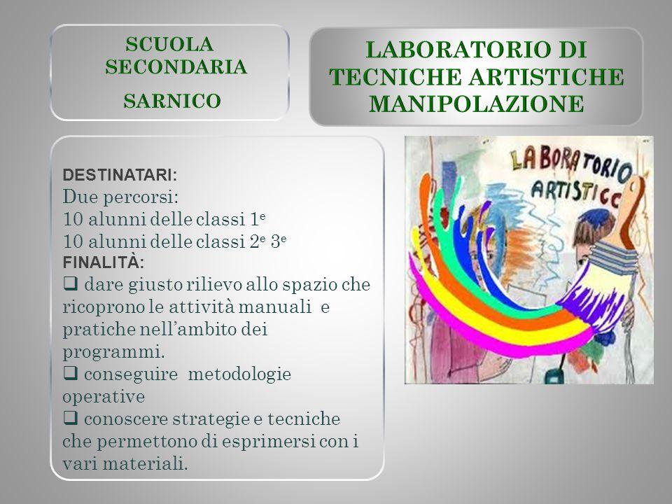 LABORATORIO DI TECNICHE ARTISTICHE MANIPOLAZIONE