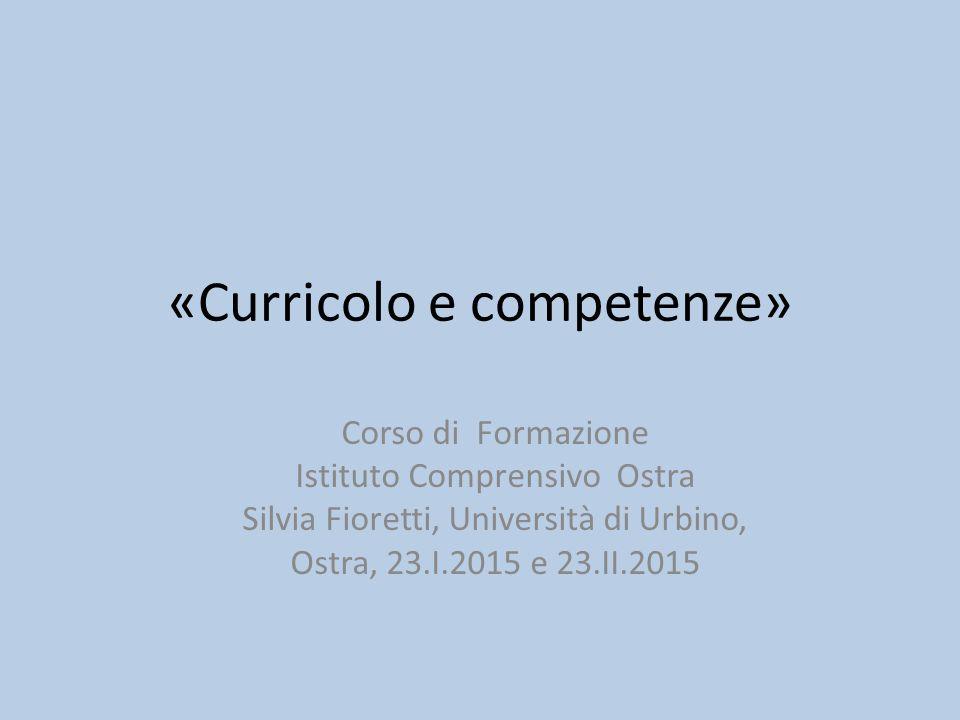 «Curricolo e competenze»