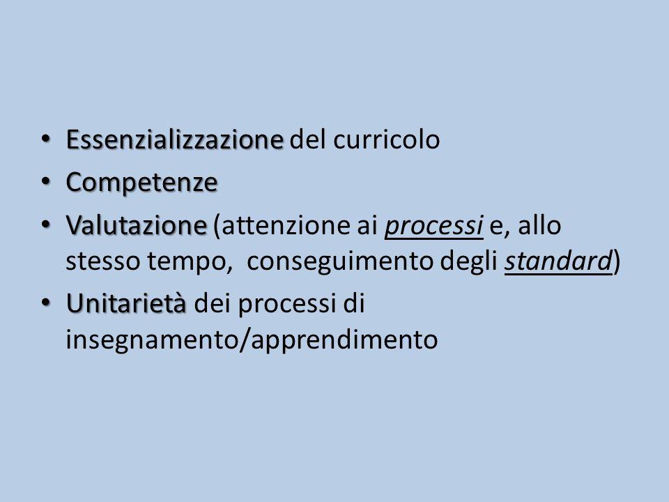 Essenzializzazione del curricolo