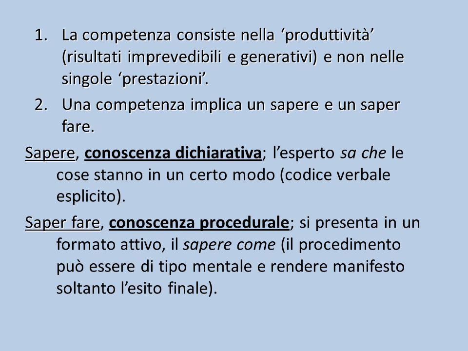 La competenza consiste nella 'produttività' (risultati imprevedibili e generativi) e non nelle singole 'prestazioni'.