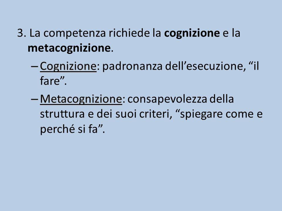 3. La competenza richiede la cognizione e la metacognizione.