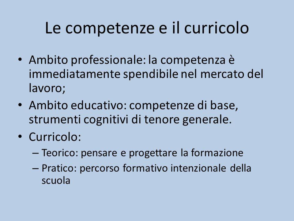 Le competenze e il curricolo