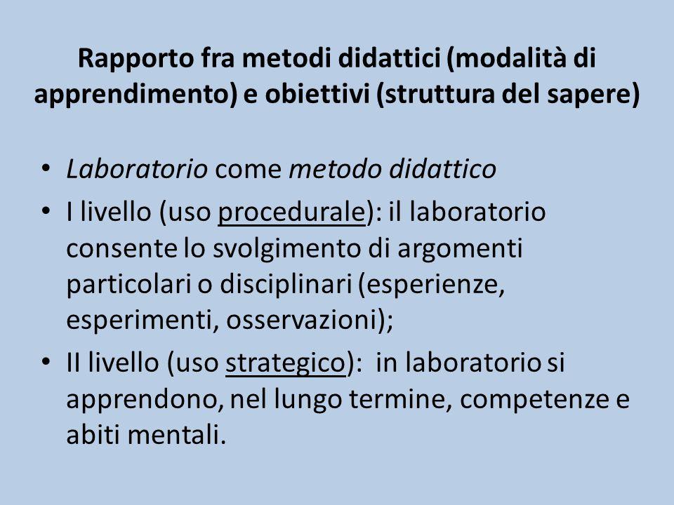 Rapporto fra metodi didattici (modalità di apprendimento) e obiettivi (struttura del sapere)