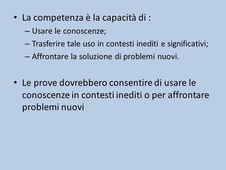 La competenza è la capacità di :