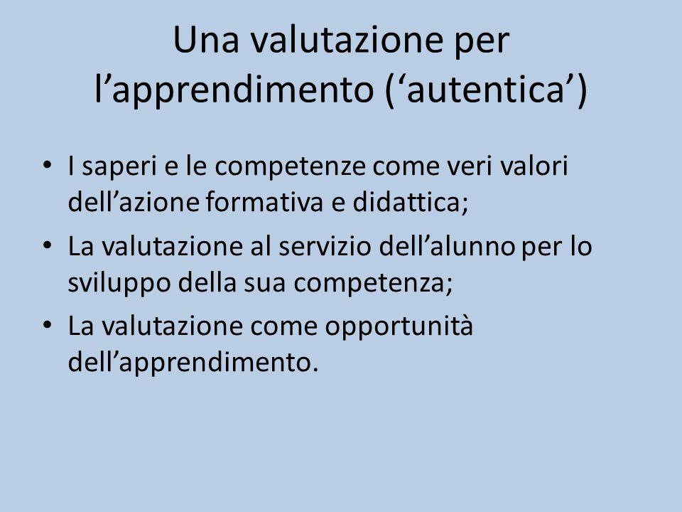 Una valutazione per l'apprendimento ('autentica')