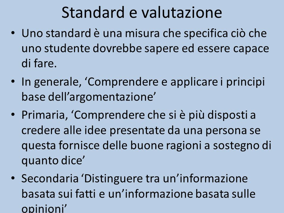 Standard e valutazione