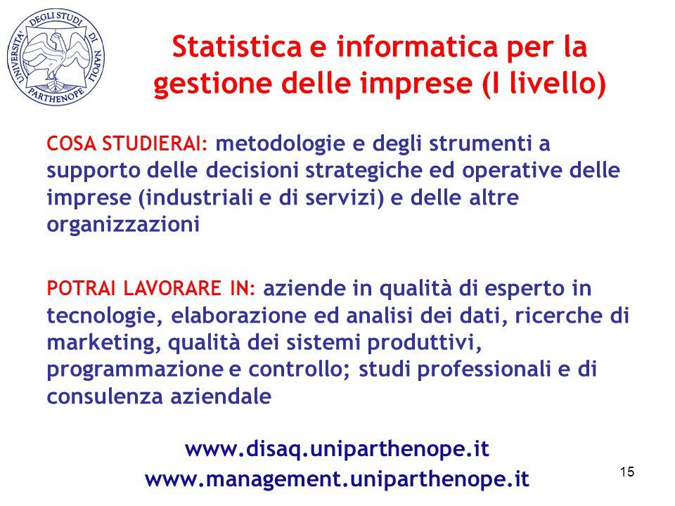 Statistica e informatica per la gestione delle imprese (I livello)