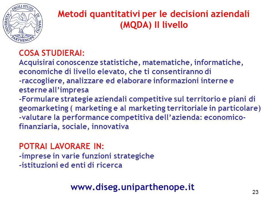 Metodi quantitativi per le decisioni aziendali (MQDA) II livello