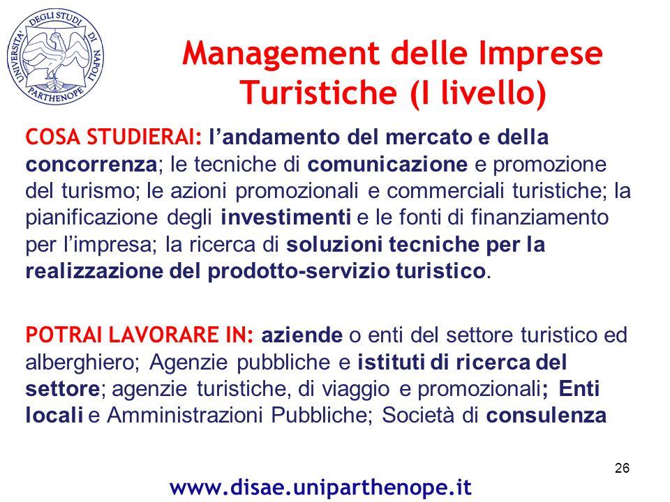 Management delle Imprese Turistiche (I livello)