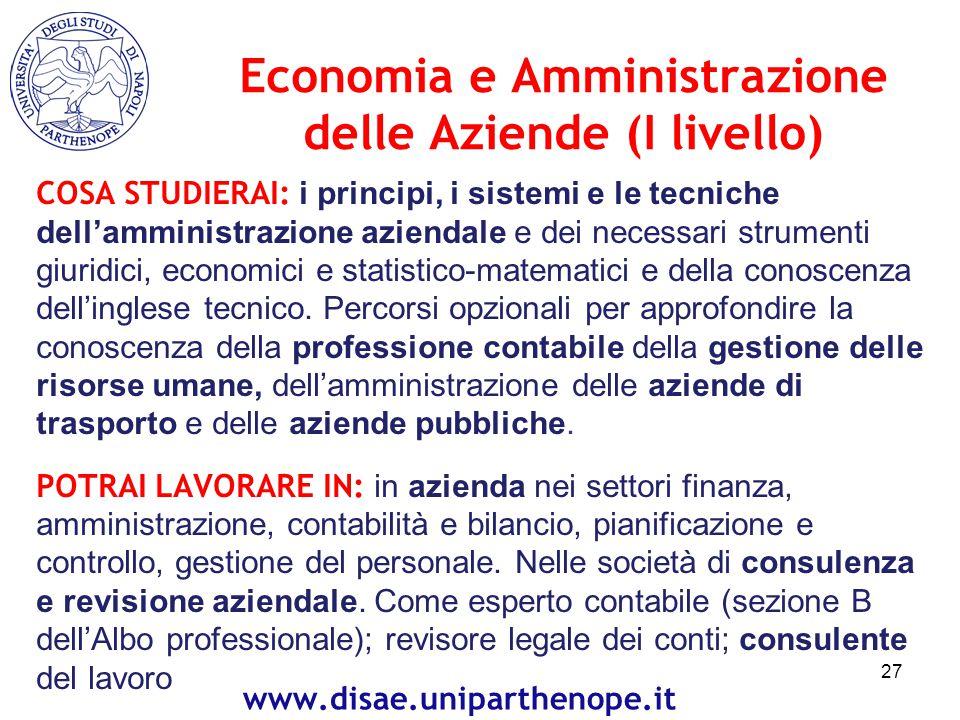 Economia e Amministrazione delle Aziende (I livello)