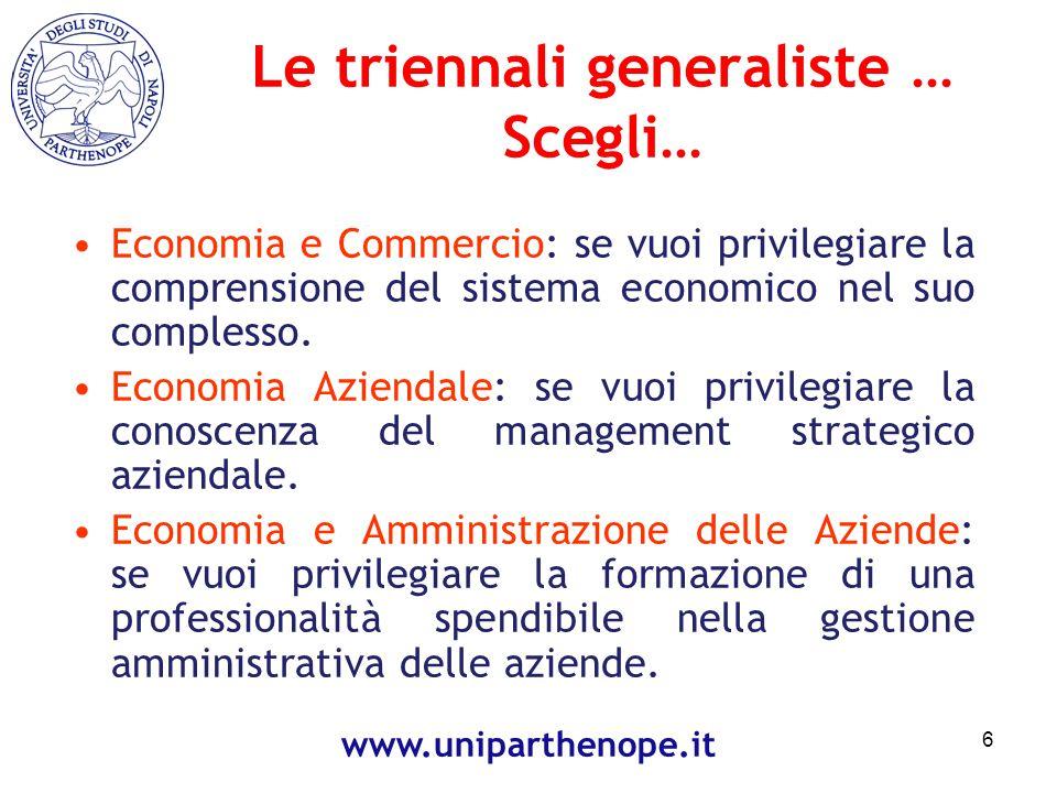 Le triennali generaliste … Scegli…