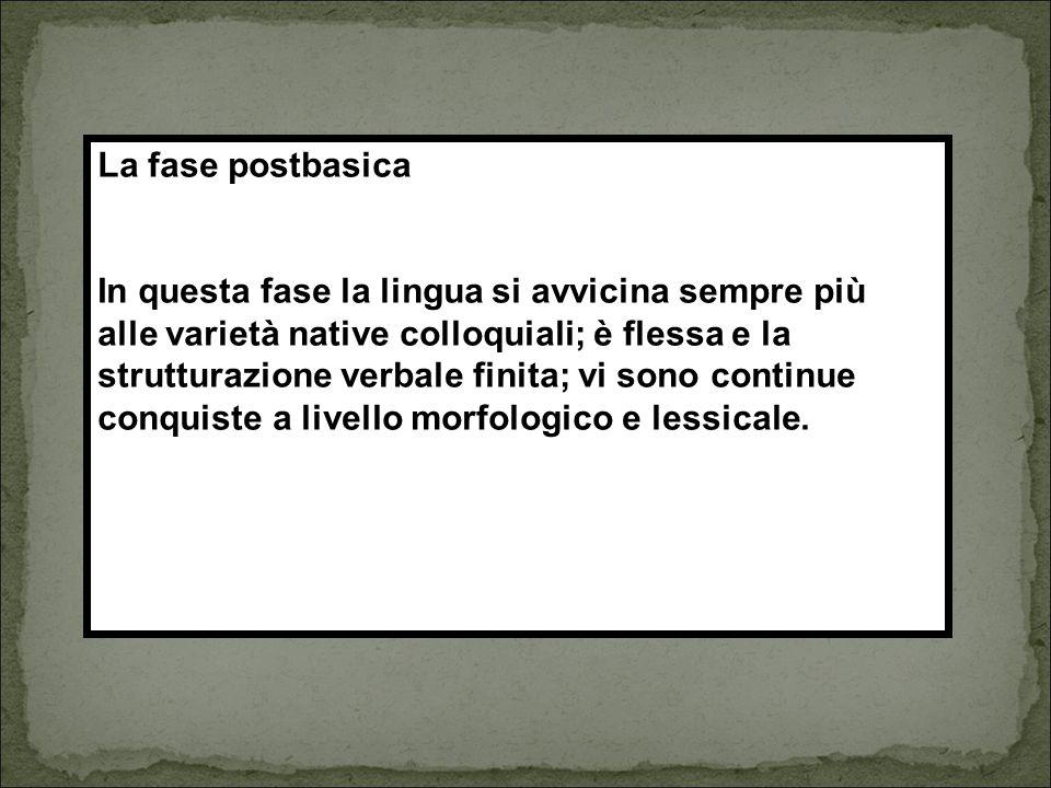 La fase postbasica In questa fase la lingua si avvicina sempre più. alle varietà native colloquiali; è flessa e la.