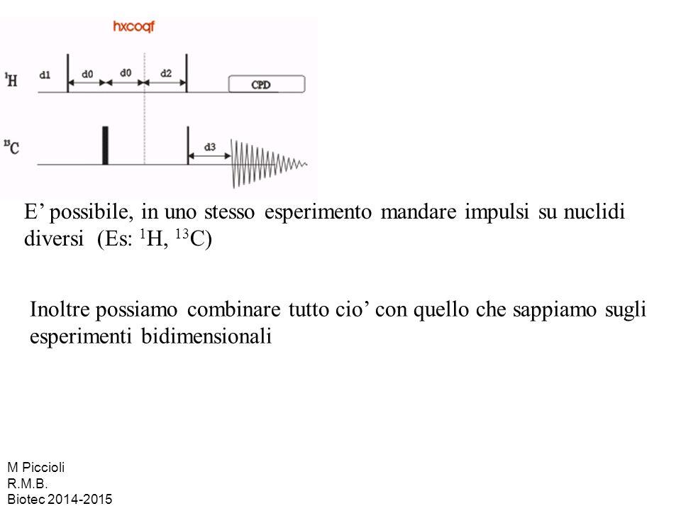 E' possibile, in uno stesso esperimento mandare impulsi su nuclidi diversi (Es: 1H, 13C)