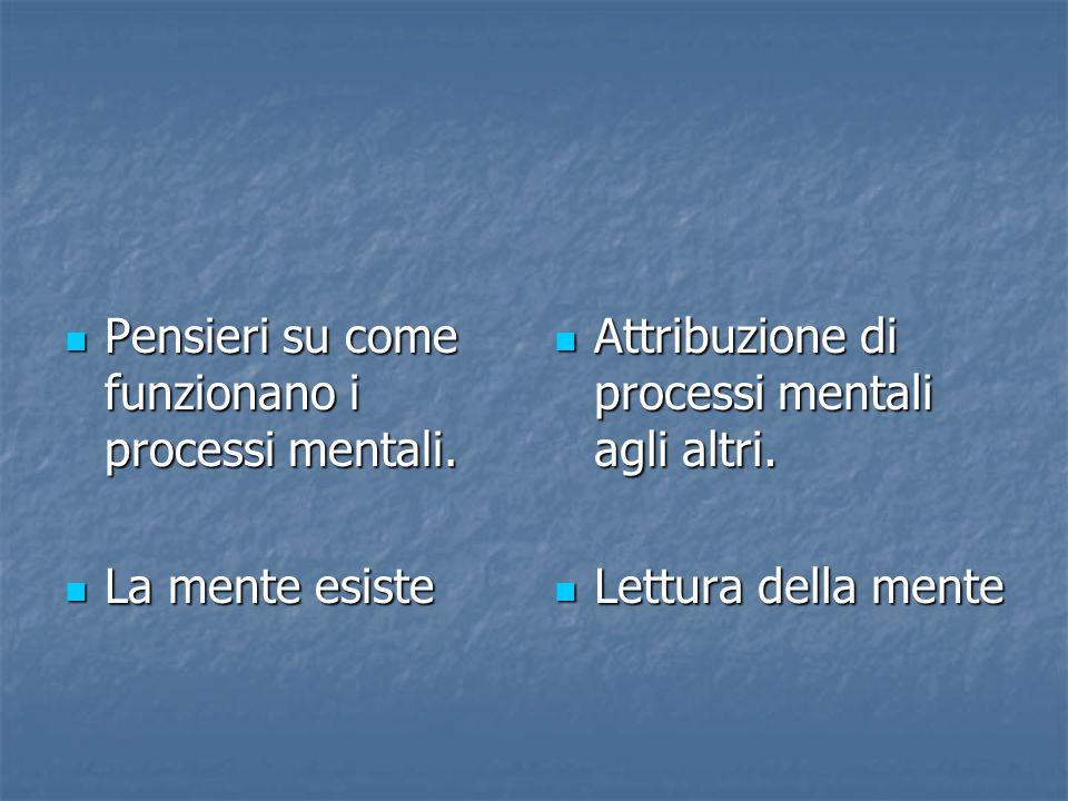 Pensieri su come funzionano i processi mentali.