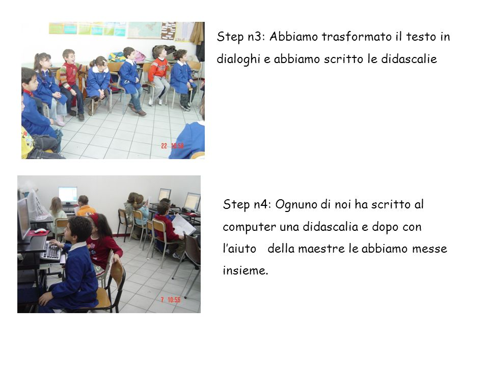 Step n3: Abbiamo trasformato il testo in dialoghi e abbiamo scritto le didascalie