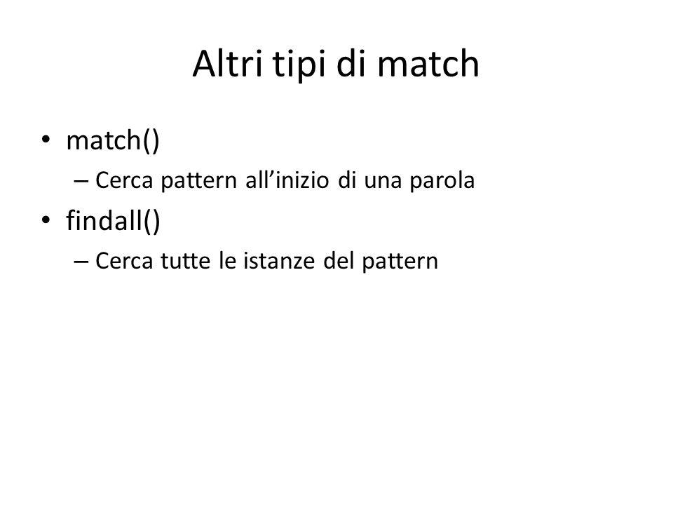 Altri tipi di match match() findall()