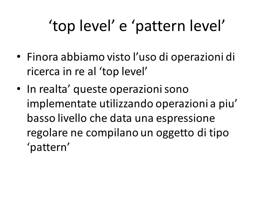 'top level' e 'pattern level'