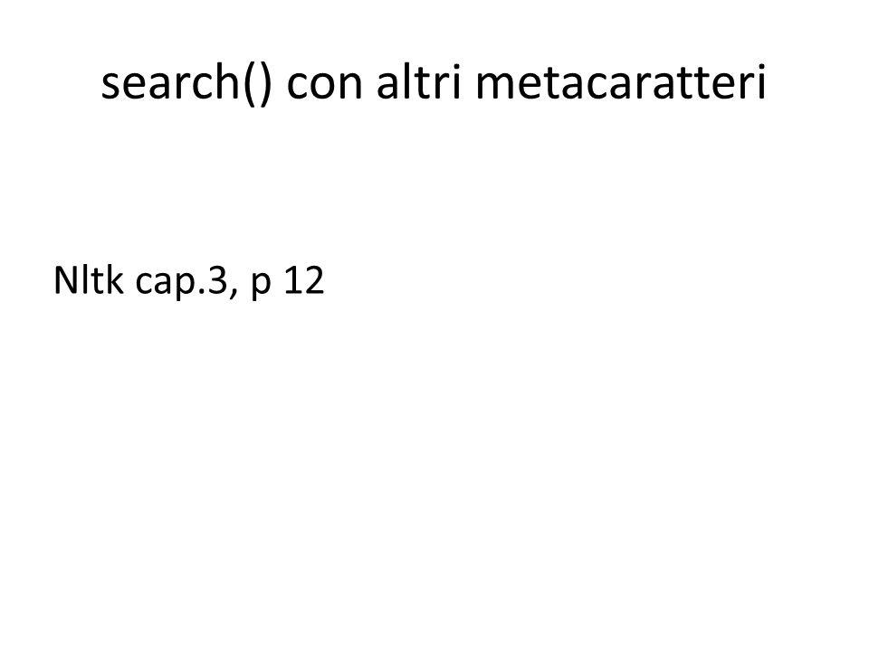 search() con altri metacaratteri