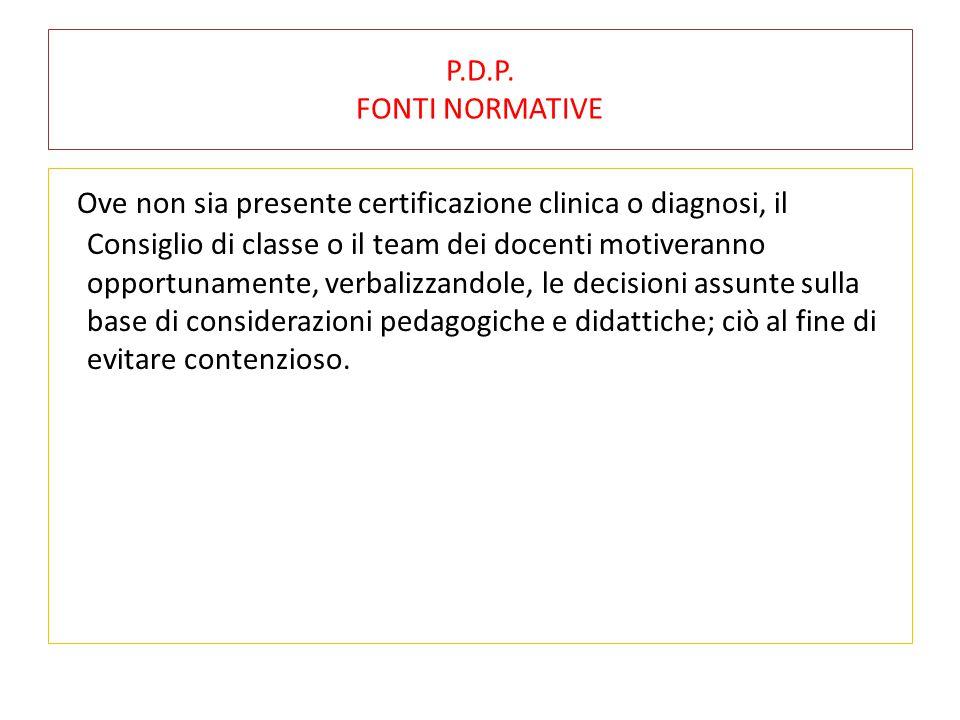 P.D.P. FONTI NORMATIVE
