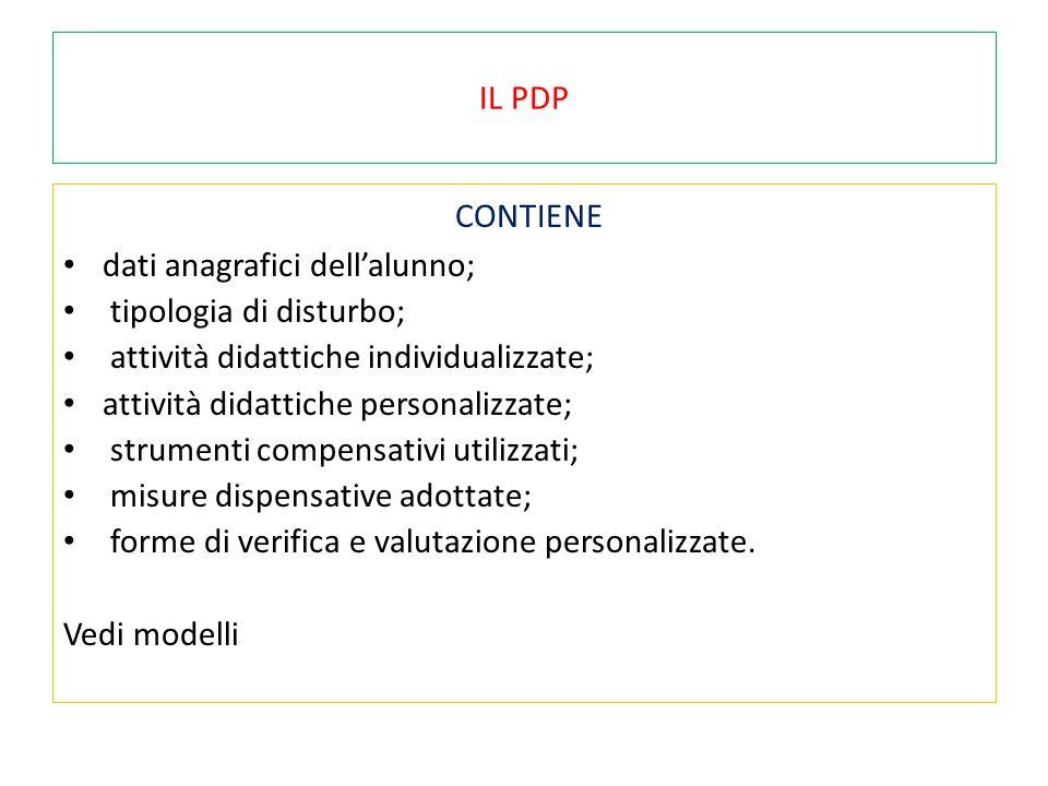 CONTIENE IL PDP dati anagrafici dell'alunno; tipologia di disturbo;