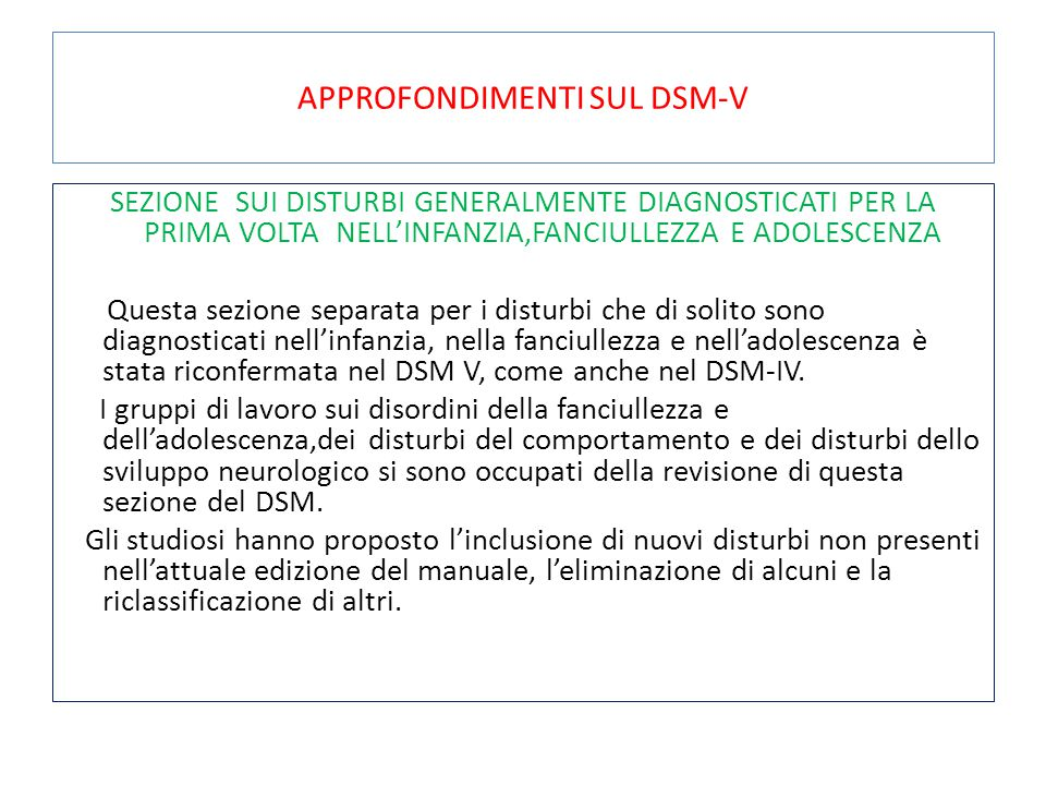 APPROFONDIMENTI SUL DSM-V