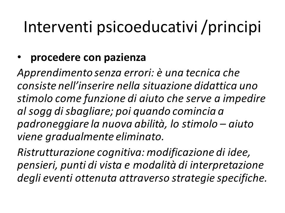 Interventi psicoeducativi /principi