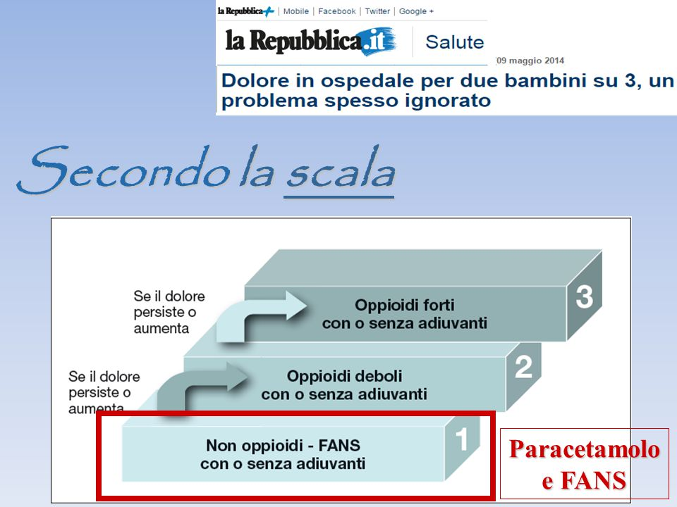 Secondo la scala Paracetamolo e FANS