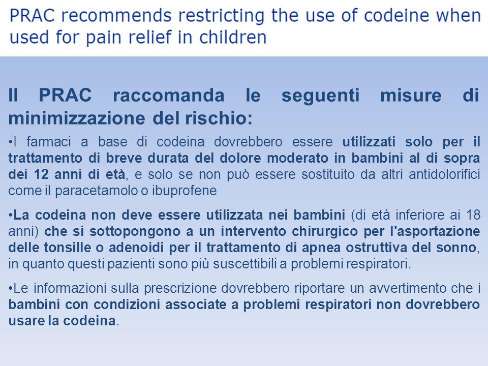 Il PRAC raccomanda le seguenti misure di minimizzazione del rischio:
