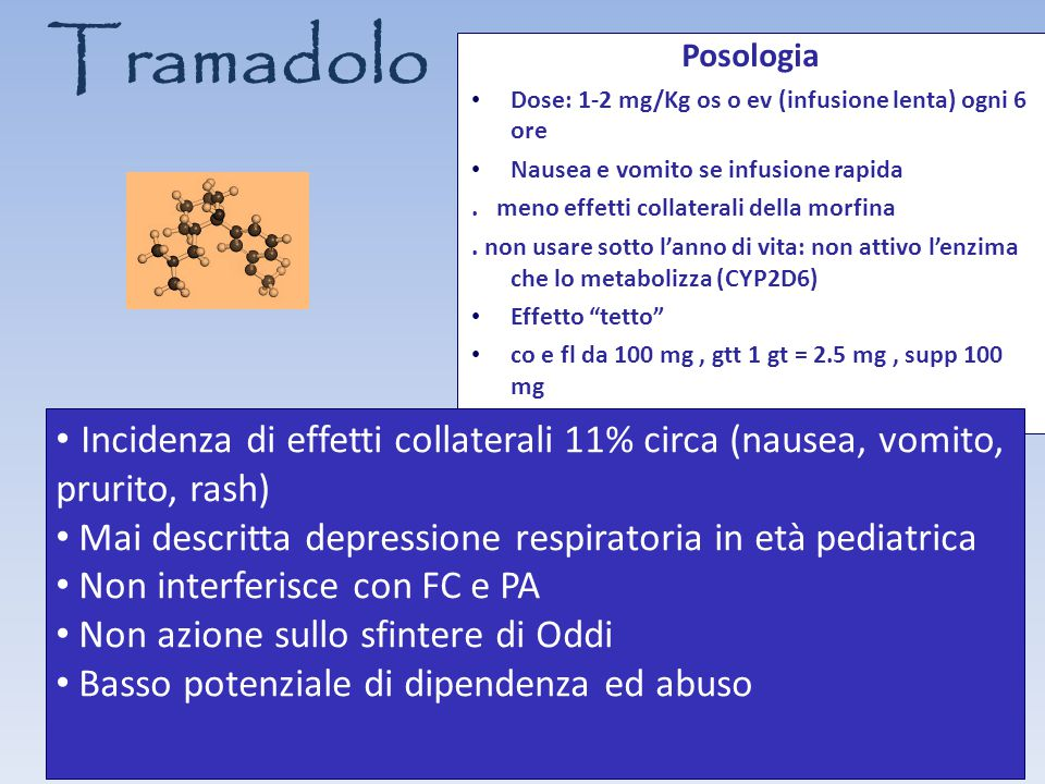 Tramadolo Posologia. Dose: 1-2 mg/Kg os o ev (infusione lenta) ogni 6 ore. Nausea e vomito se infusione rapida.