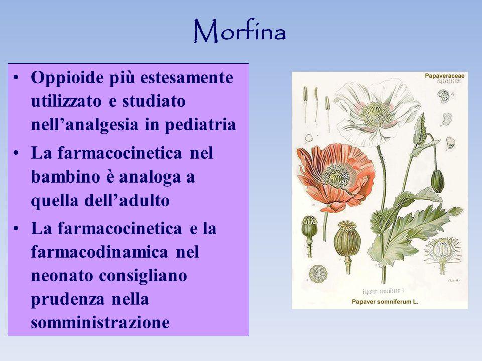 Morfina Oppioide più estesamente utilizzato e studiato nell'analgesia in pediatria.