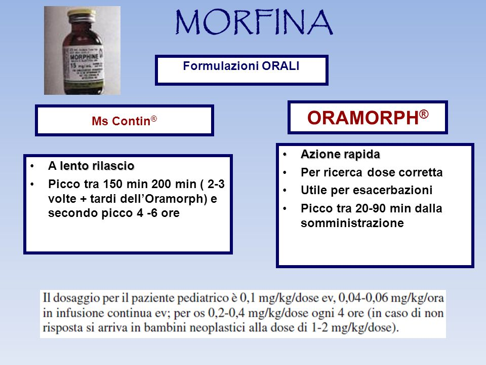MORFINA ORAMORPH® Formulazioni ORALI Ms Contin® Azione rapida