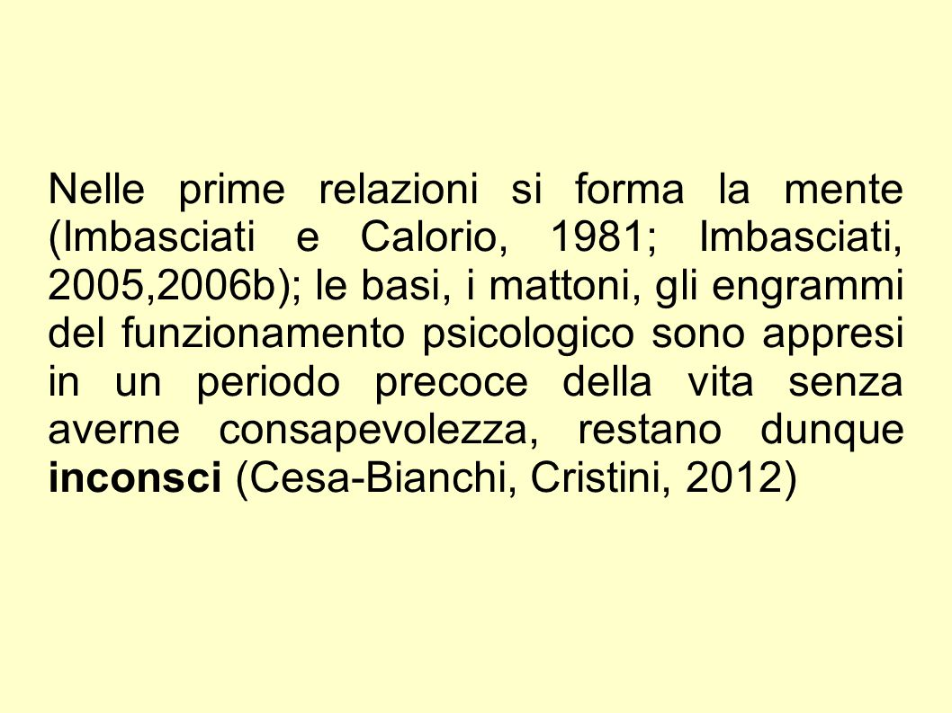 Nelle prime relazioni si forma la mente (Imbasciati e Calorio, 1981; Imbasciati, 2005,2006b); le basi, i mattoni, gli engrammi del funzionamento psicologico sono appresi in un periodo precoce della vita senza averne consapevolezza, restano dunque inconsci (Cesa-Bianchi, Cristini, 2012)