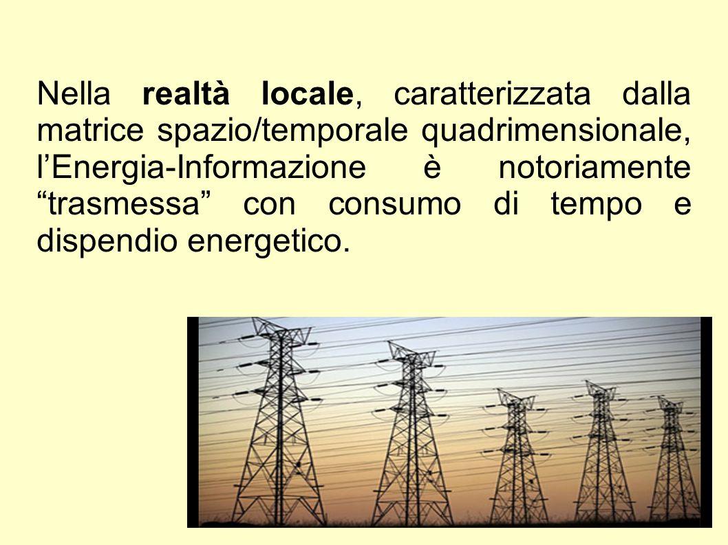 Nella realtà locale, caratterizzata dalla matrice spazio/temporale quadrimensionale, l'Energia-Informazione è notoriamente trasmessa con consumo di tempo e dispendio energetico.