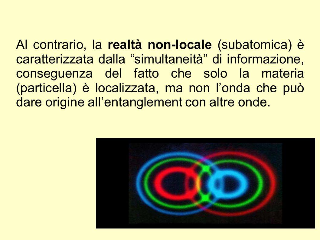 Al contrario, la realtà non-locale (subatomica) è caratterizzata dalla simultaneità di informazione, conseguenza del fatto che solo la materia (particella) è localizzata, ma non l'onda che può dare origine all'entanglement con altre onde.