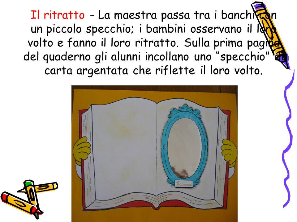 Il ritratto - La maestra passa tra i banchi con un piccolo specchio; i bambini osservano il loro volto e fanno il loro ritratto.