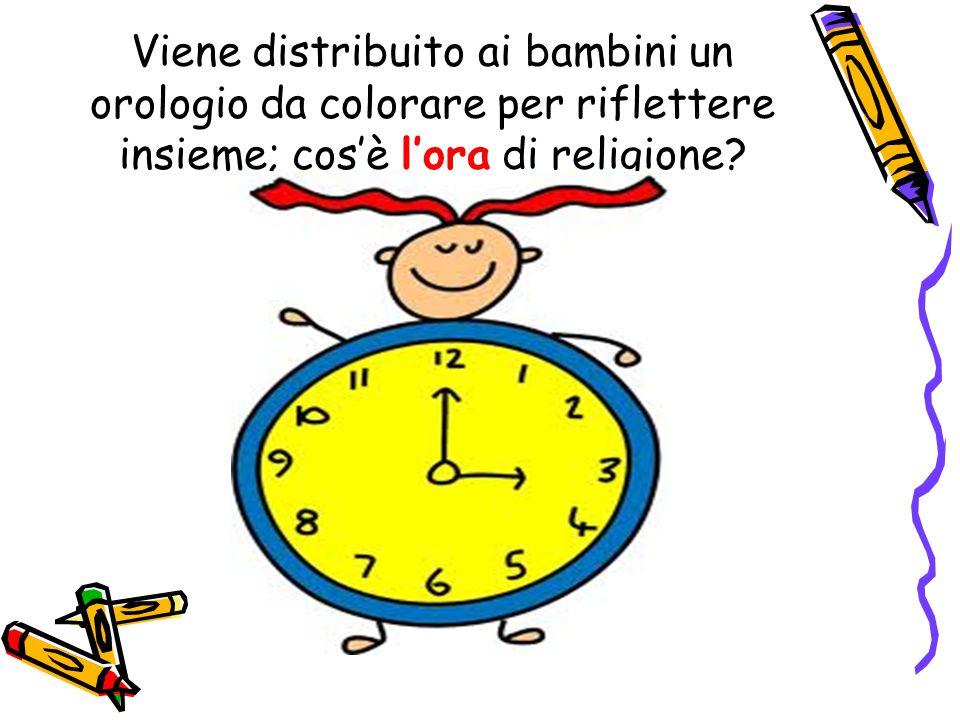 Viene distribuito ai bambini un orologio da colorare per riflettere insieme; cos'è l'ora di religione