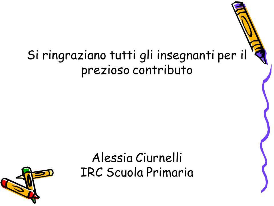 Si ringraziano tutti gli insegnanti per il prezioso contributo Alessia Ciurnelli IRC Scuola Primaria