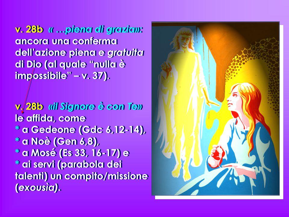 v. 28b « …piena di grazia»: ancora una conferma dell'azione piena e gratuita di Dio (al quale nulla è impossibile – v. 37).